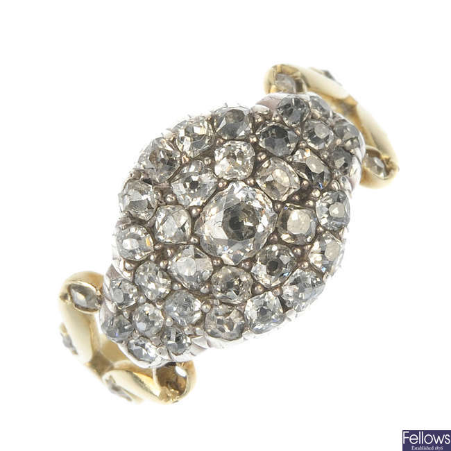 A Georgian silver and gold, diamond cluster ring.