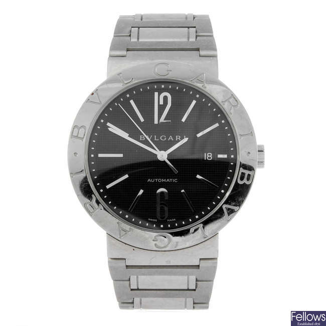BULGARI - a gentleman's stainless steel Bulgari bracelet watch.