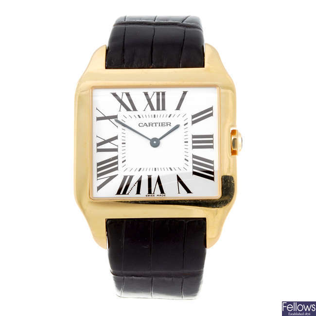 CARTIER - an 18ct rose gold Santos Dumont wrist watch.