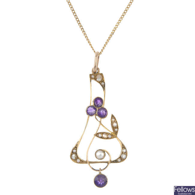 An early 20th century 9ct gold amethyst and split pearl pendant, with later chain.