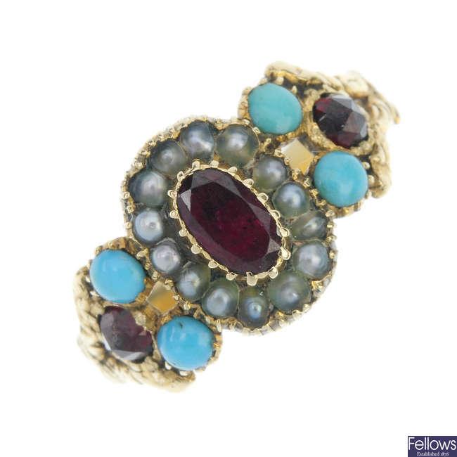A mid-Victorian gold gem-set ring.