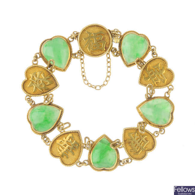 An early 20th century Chinese gold jade hearts bracelet.