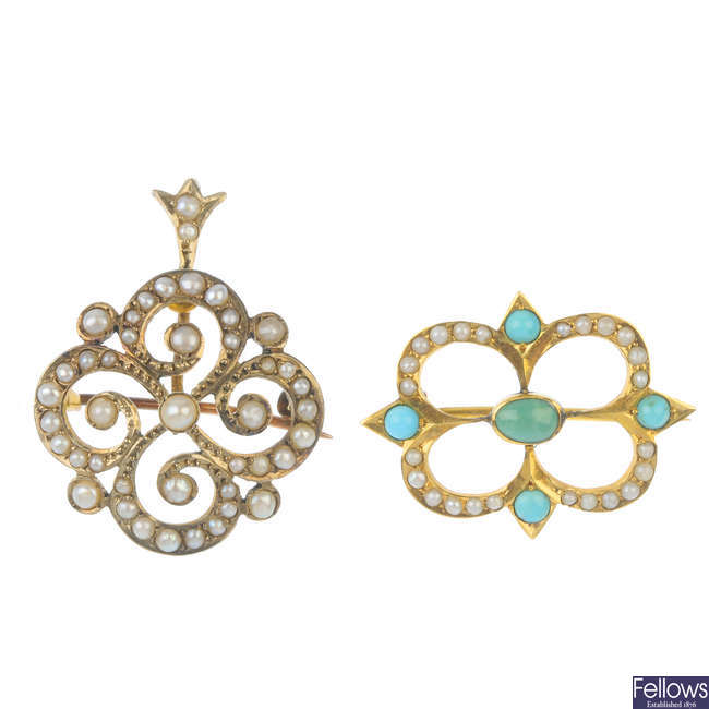 Two early 20th century gold turquoise and split pearl items of jewellery.