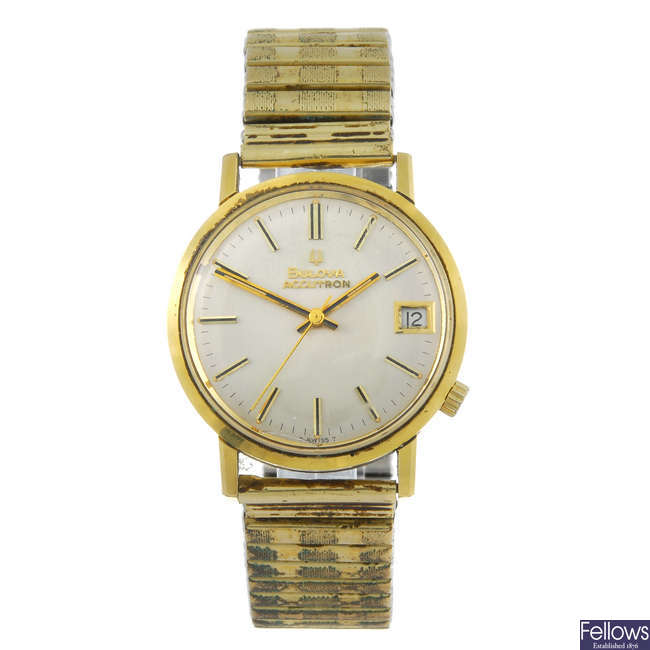 BULOVA - a gentleman's gold plated Accutron bracelet watch with two lady's Omega watches.