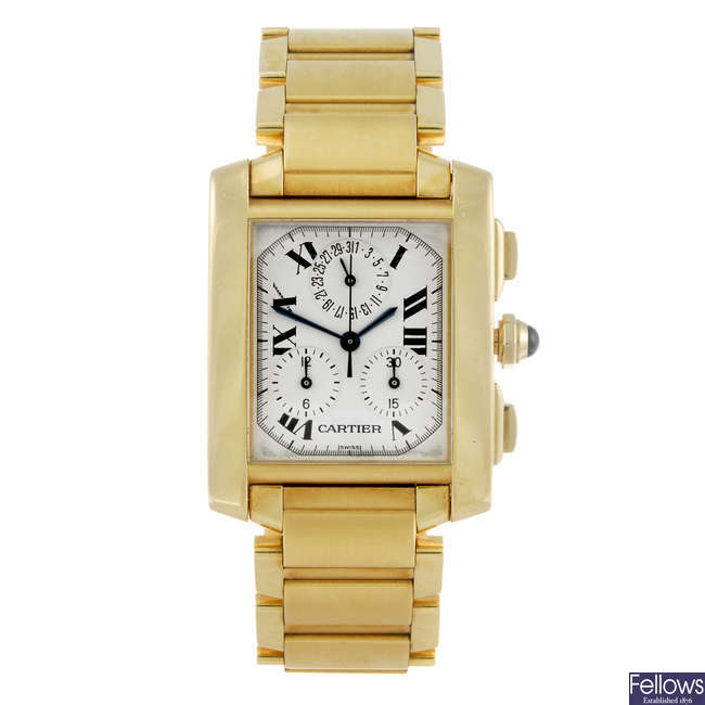 CARTIER - an 18ct yellow gold Tank Francaise Chronoflex bracelet watch.