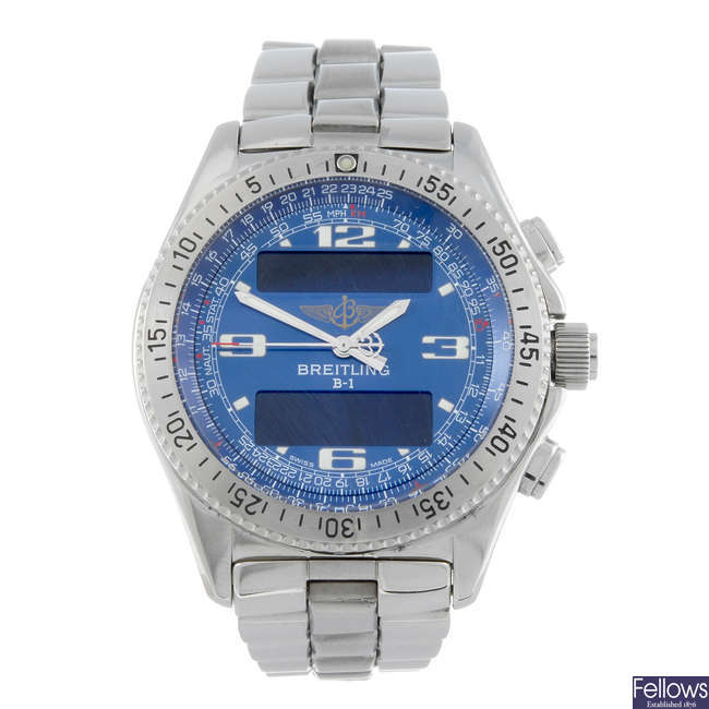 BREITLING - a gentleman's stainless steel Professional B-1 bracelet watch.