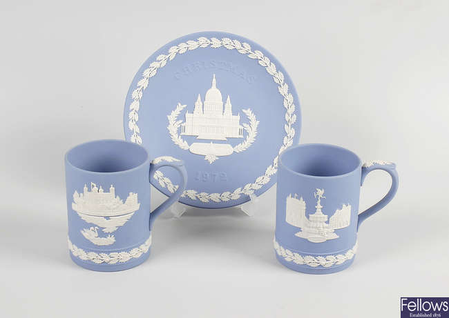 Two boxes of Wedgwood Christmas items