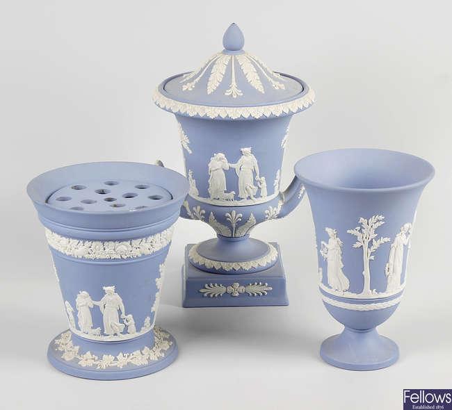 A group of Wedgwood blue Jasperware