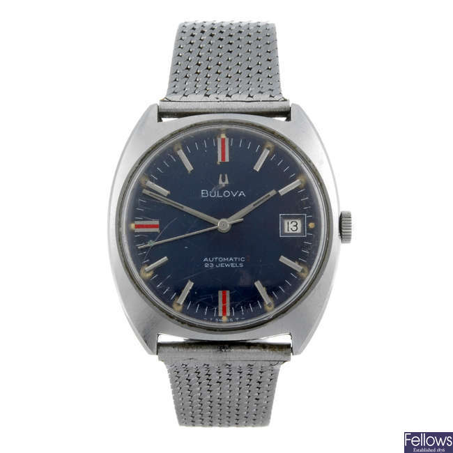 BULOVA - a gentleman's stainless steel bracelet watch with two Bulova watches.