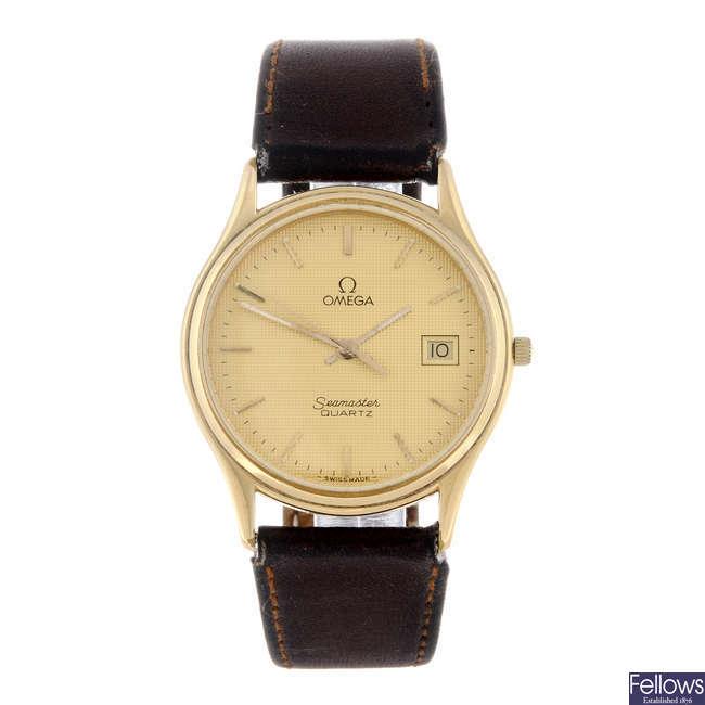 OMEGA - a gentleman's gold plated Seamaster wrist watch.