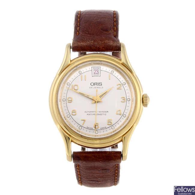 ORIS - a gentleman's gold plated wrist watch with an Oris Star wrist watch and an Oris pocket watch.