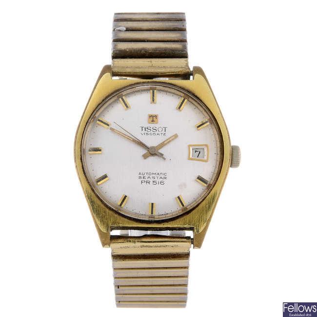 TISSOT - a gentleman's gold plated Visodate PR516 bracelet watch with a Tissot Seastar watch head.