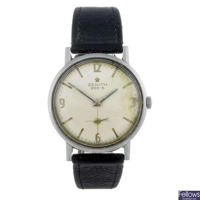 ZENITH - a gentleman's stainless steel 220S wrist watch.