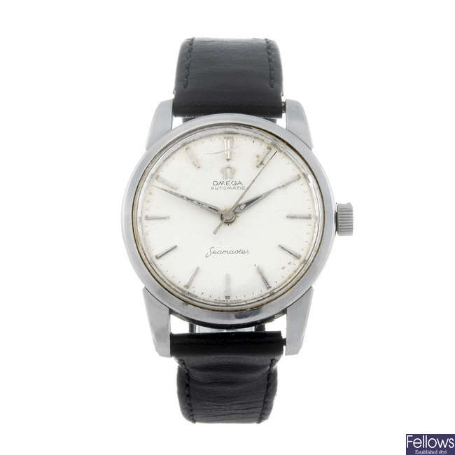 OMEGA - a gentleman's stainless steel Seamaster wrist watch with another Omega bracelet watch.
