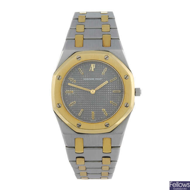 AUDEMARS PIGUET - a lady's bi-metal Royal Oak bracelet watch.