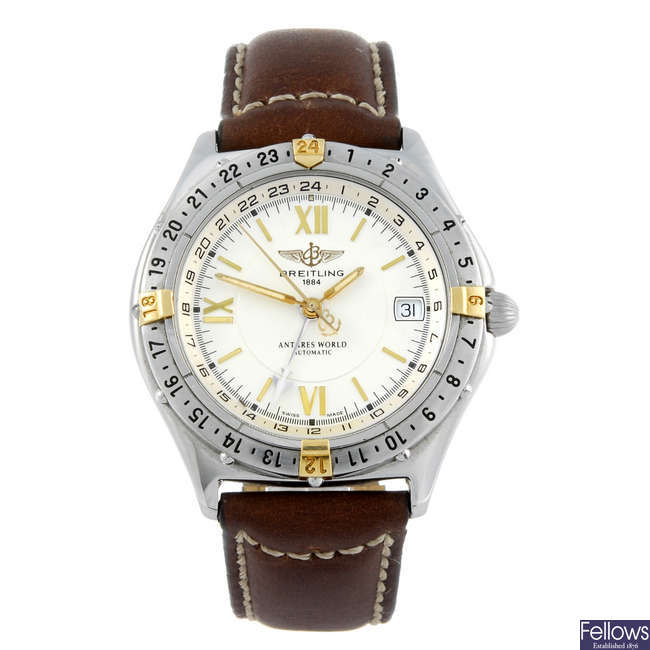 BREITLING - a gentleman's stainless steel Windrider Antares World wrist watch.