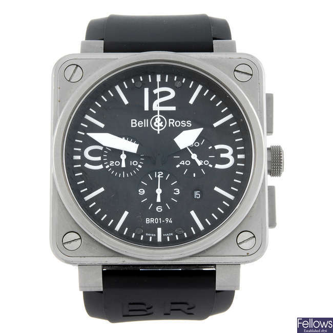 CURRENT MODEL: BELL & ROSS - a gentleman's stainless steel Type Aviation chronograph wrist watch.