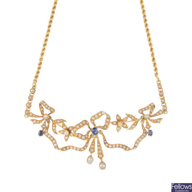 An early 20th century 18ct gold sapphire and split pearl necklace.