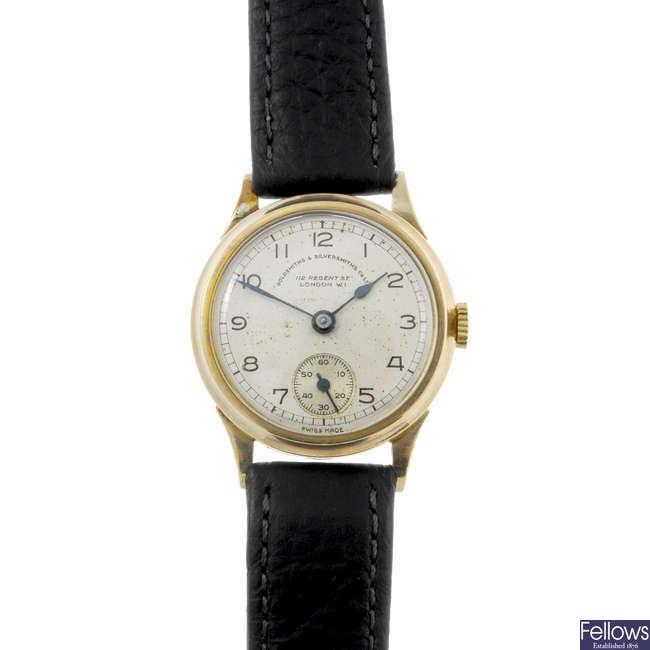 GOLDSMITH & SILVERSMITH CO. LTD - a gentleman's 9ct yellow gold wrist watch with lady's Omega watch.