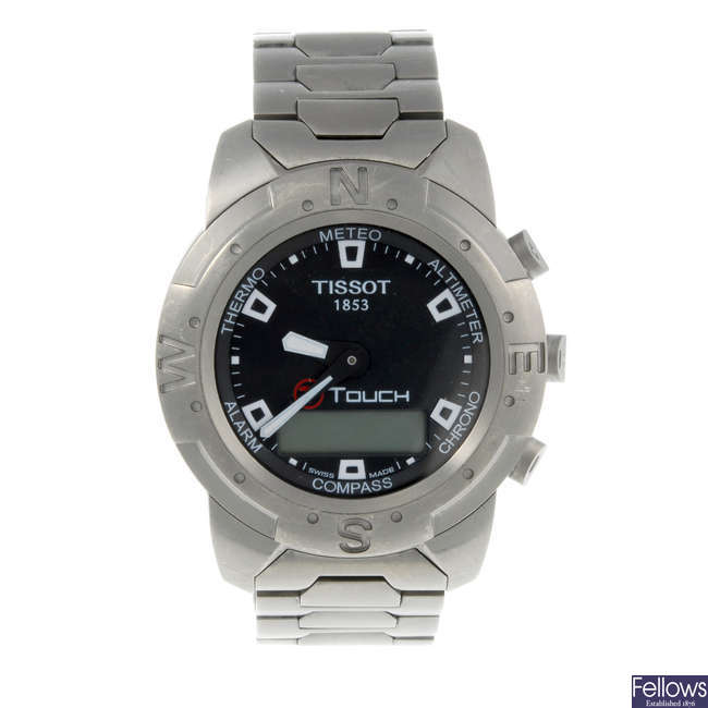 TISSOT - a gentleman's titanium T-Touch bracelet watch with two Tissot watches.