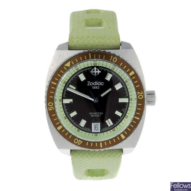 ZODIAC - a gentleman's stainless steel Seadragon wrist watch with another Zodiac gentleman's watch