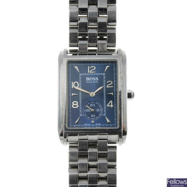 HUGO BOSS - a gentleman's stainless steel bracelet watch with Emporio Armani watch and a watch.