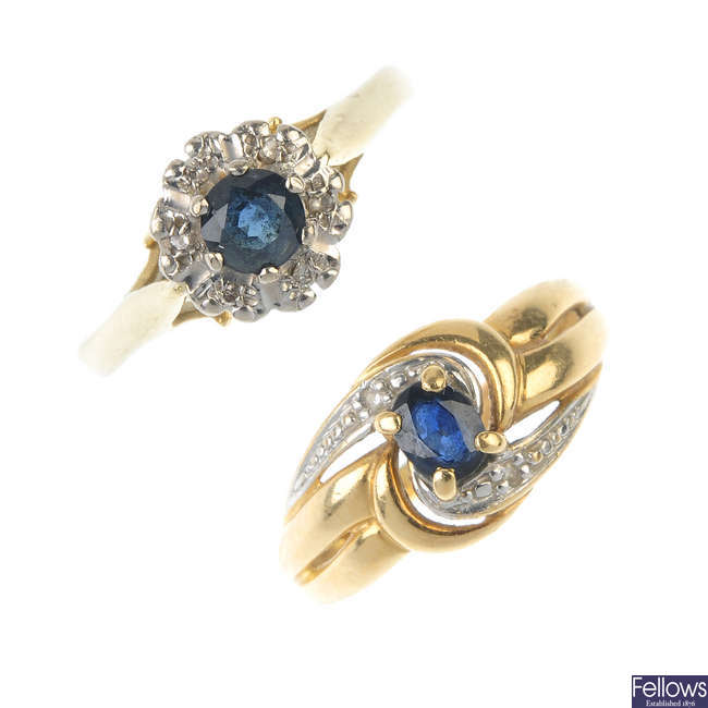 Two sapphire and diamond rings.