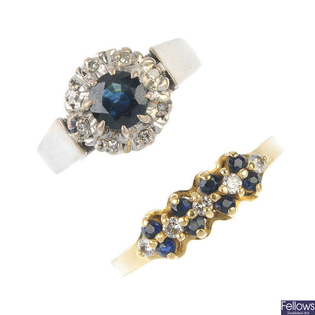 Two sapphire and diamond dress rings.