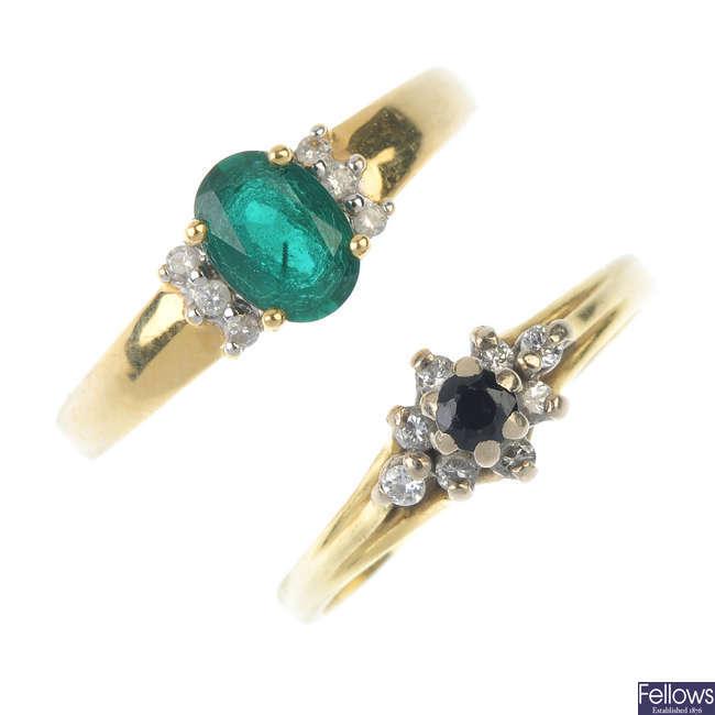 Two 18ct gold diamond gem-set rings.