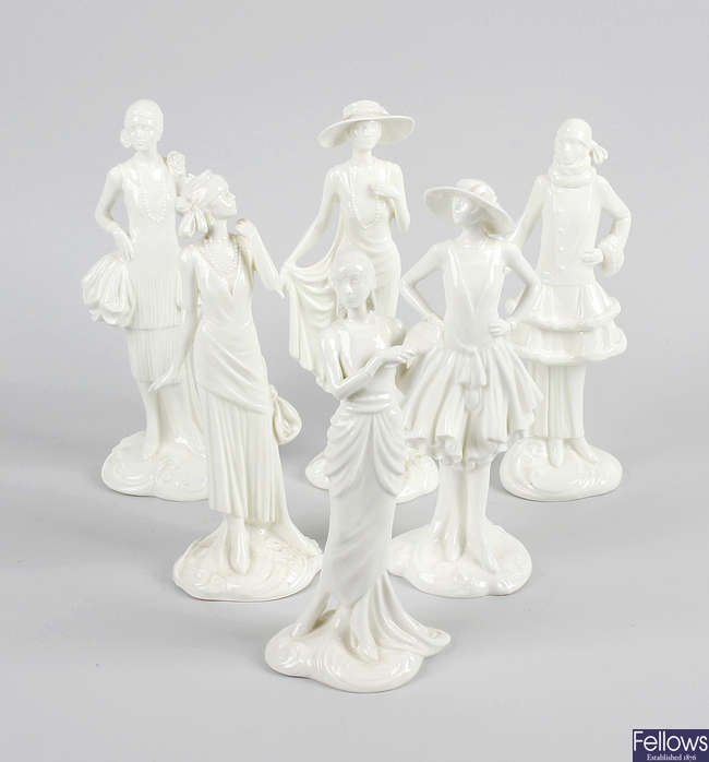 A set of Royal Worcester Compton and Woodhouse white glazed figurines