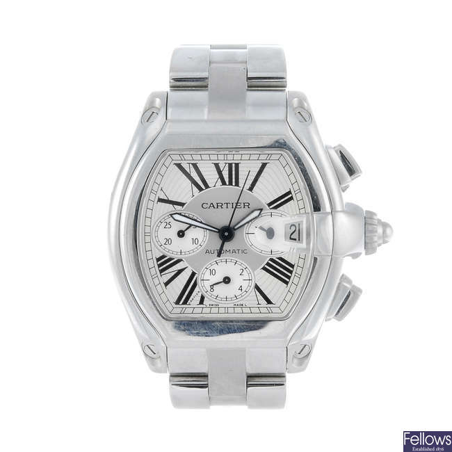 CARTIER - a stainless steel Roadster XL chronograph bracelet watch.