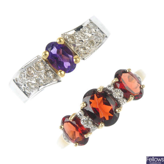 A selection of three gold, diamond and gem-set rings.