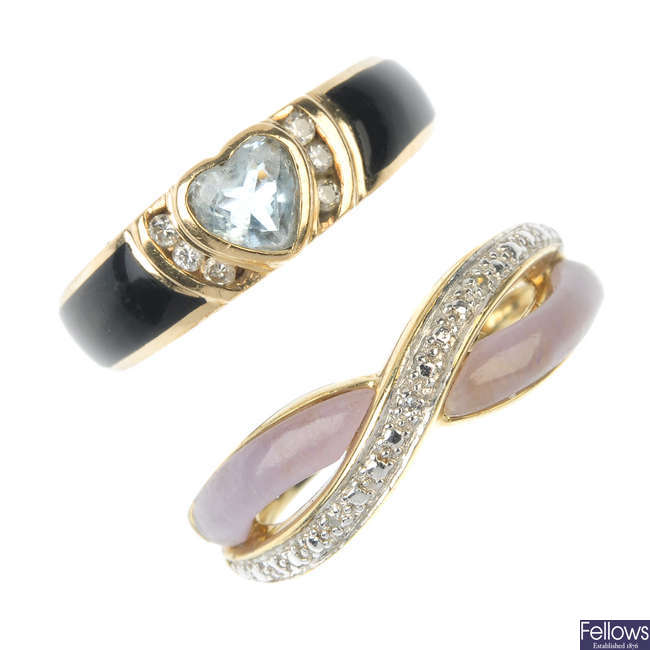 A selection of three 9ct gold diamond and gem-set dress rings.