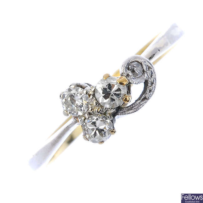 An early 20th century silver and gold diamond dress ring.