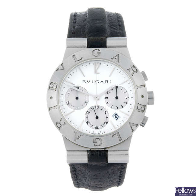 BULGARI - a gentleman's stainless steel chronograph wrist watch.