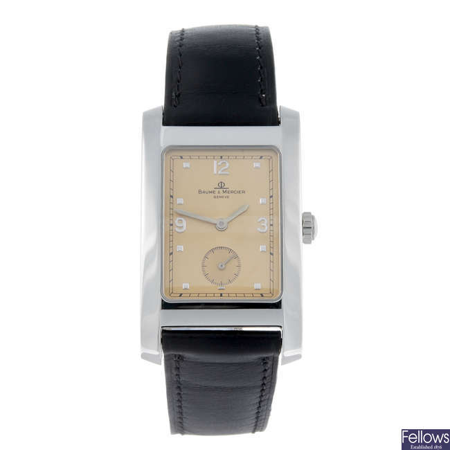 BAUME & MERCIER - a gentleman's stainless steel Hampton wrist watch.