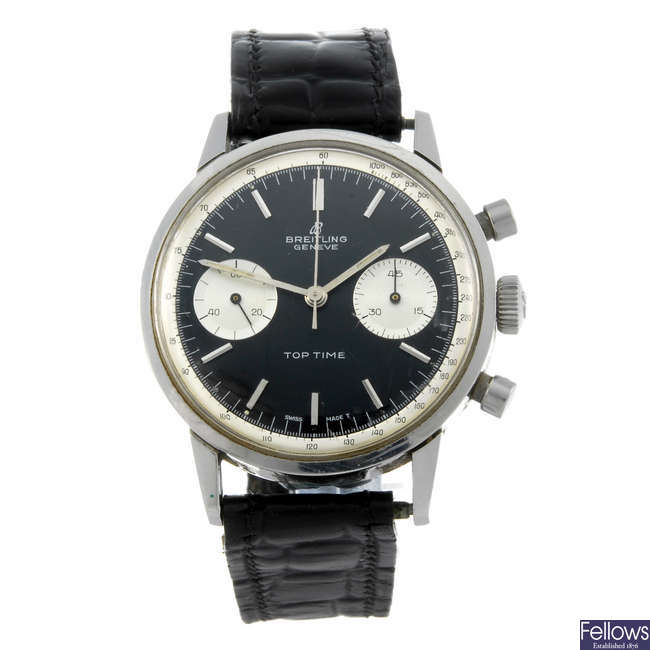 BREITLING - a gentleman's stainless steel Top Time chronograph wrist watch.