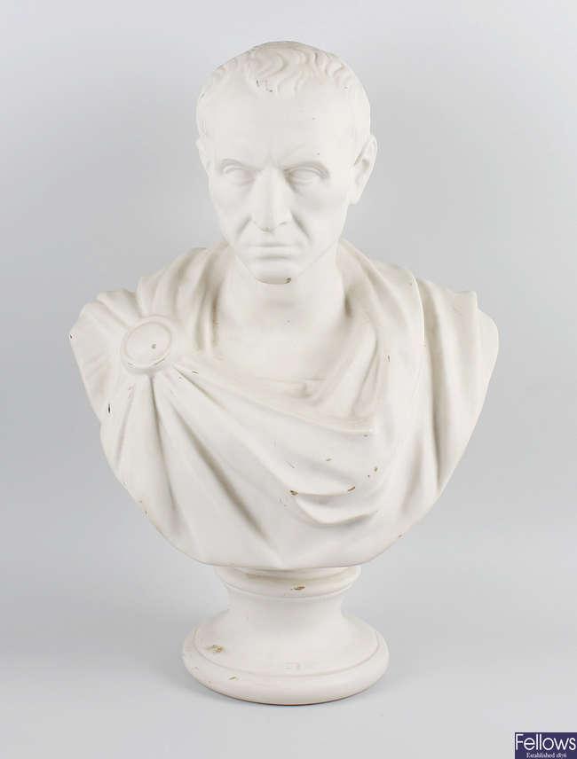 A large Victorian parianware bust of Julius Caesar