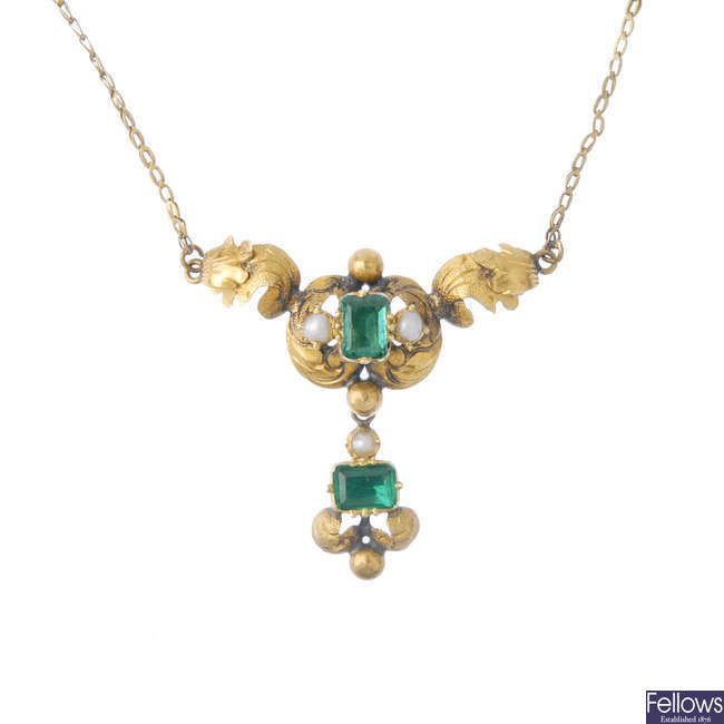 A mid Victorian gold emerald and split pearl pendant.