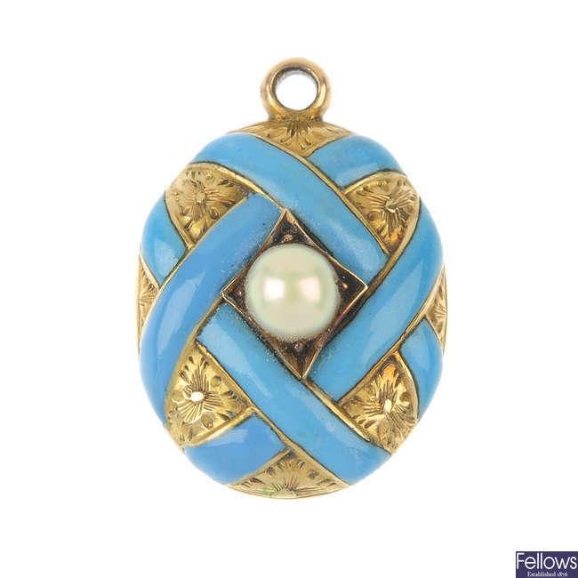 A mid 19th century gold split pearl and enamel locket.