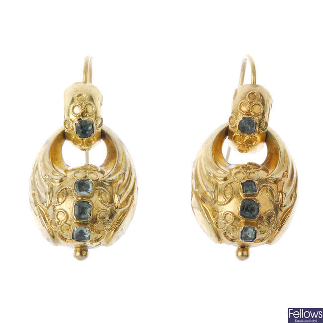 A pair of late 19th century gold emerald ear pendants.