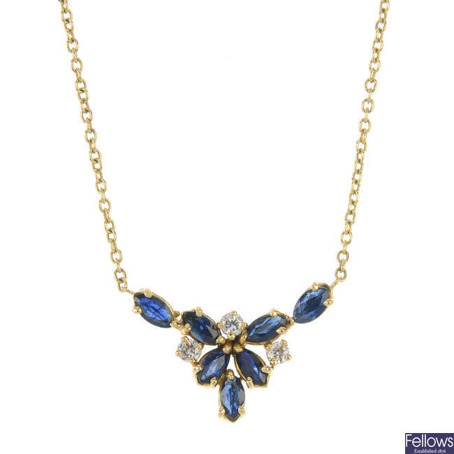 A diamond and sapphire necklace.