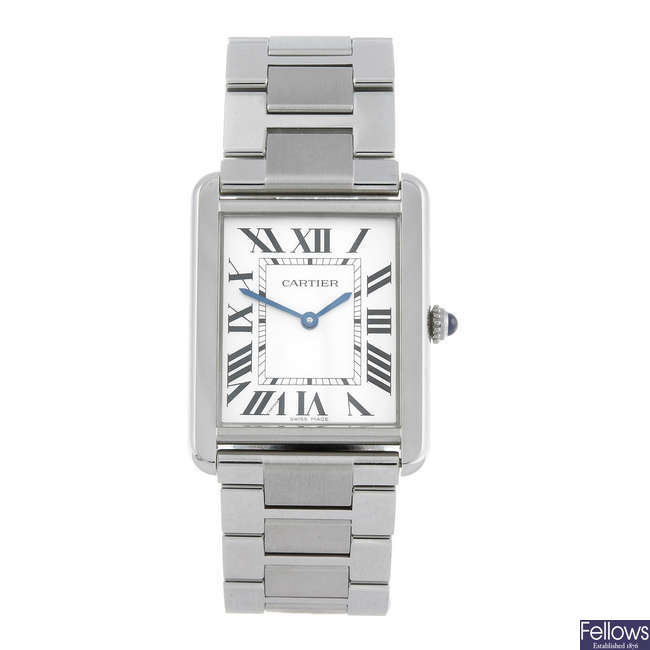 CARTIER - a stainless steel Tank Solo bracelet watch.