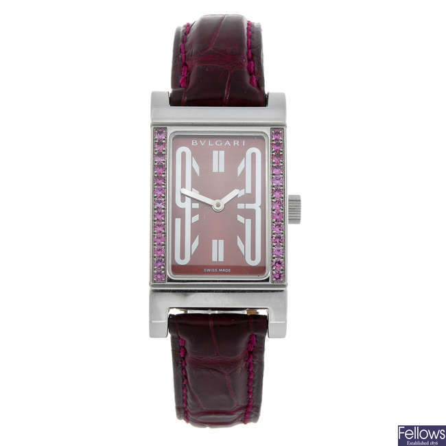 BULGARI - a lady's stainless steel Rettangolo wrist watch.