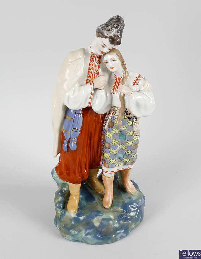 A Russian porcelain figure group.