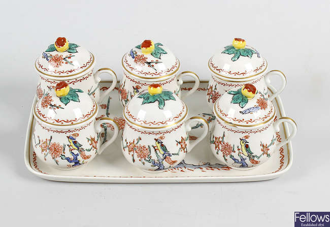A 19th century French porcelain chocolate set