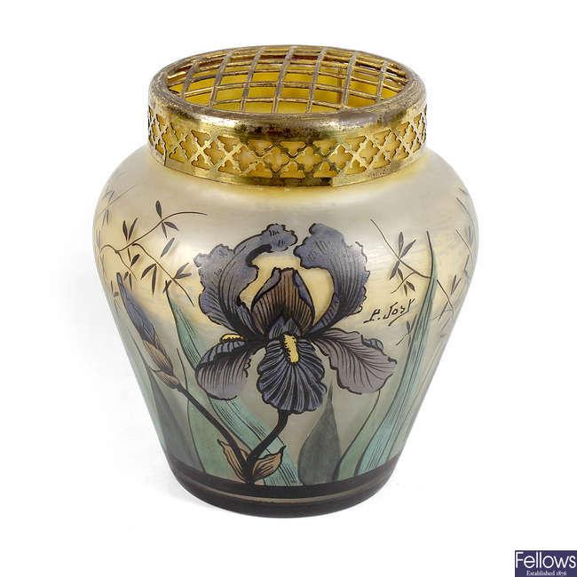 An Art Nouveau glass rose bowl, signed P. Jost.