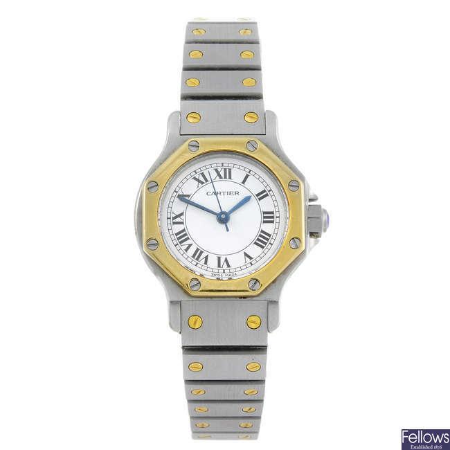 CARTIER - a bi-colour Santos Ronde bracelet watch.