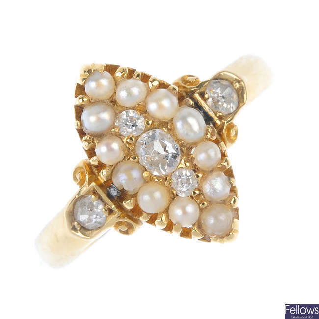 An early 20th century gold diamond and split pearl ring and a stickpin.