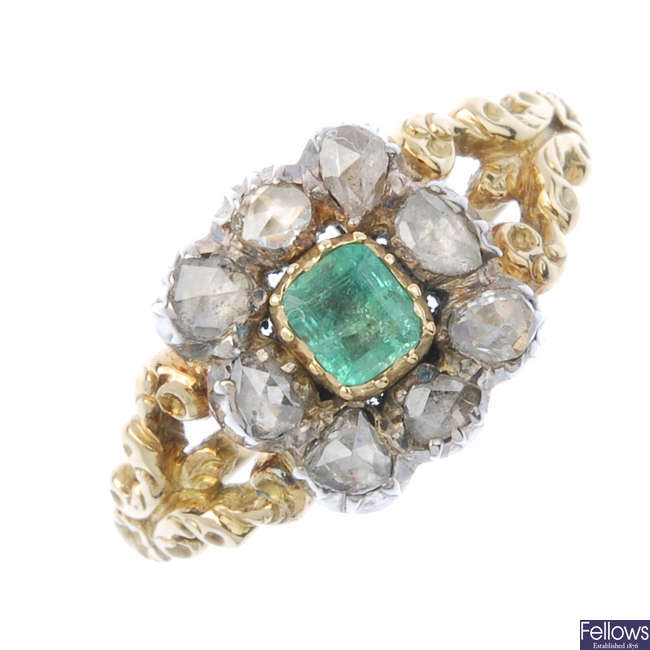 A mid 19th century silver and 18ct gold emerald and diamond cluster ring.